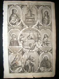 Ribadeneyra 1669 Folio Religious Print. Saints of February